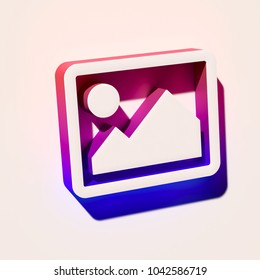 White Photo or Picture Icon. 3D Illustration of White Album, Gallery, Image, Photography, Photos, Pictures Icons With Pink and Blue Gradient Shadows.