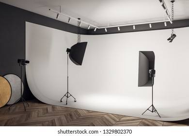 White photo studio interior with professional equipment and background. 3D Rendering