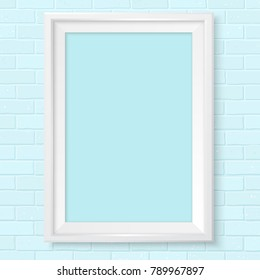 White photoframe template on blue brick wall. Realistic mockup. Cute color of framing great for kids drawing, painting or photo. Picture template for children room or school theme design.