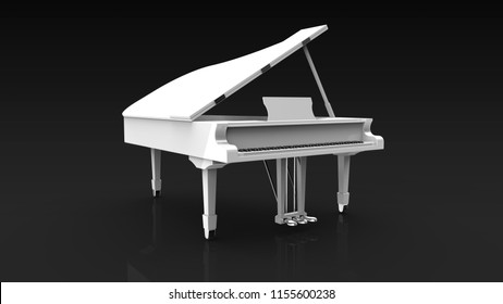 white piano 3d rendering