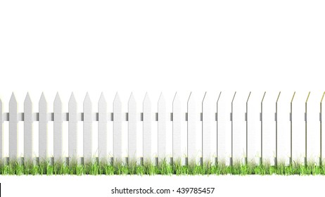 White Picket Fence - Isolated A traditional white painted picket fence with grass growing around it. Isolated on white for easier artistic use. 3d Render