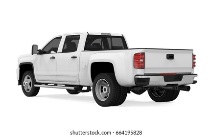 White Pickup Truck Isolated. 3D rendering