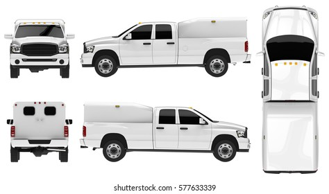 White pickup truck template isolated car on white background. 3d illustration.