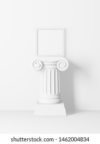 White picture frame on top of an antique column isolated on a white background. 3D render.