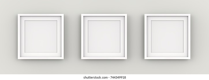 White Picture Frames on Wall. Row of 3 Square White Frames on wall with white Passe-partout. Blank for Copy Space. 3D render.