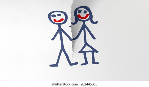 A white piece of paper tearing in two through a child like sketch of a man and woman holding hands