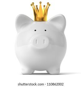 A white piggy bank wearing a golden crown.