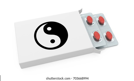 white pill box with yin yang symbol 3d rendering