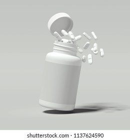 White pills spilling out of white bottle on light gray background, 3d rendering.