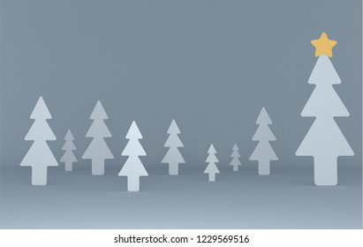 White pines background scene. Set.3d illustration