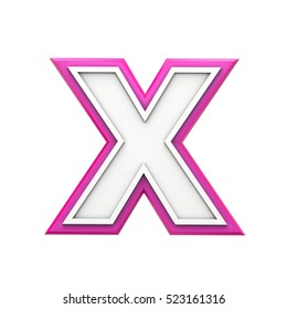 White and pink letter X. 3D rendering