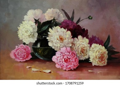 white and pink peonies in a glass vase,oil painting on canvas, fine art, bloom, still life, flowers, bouquet, summer