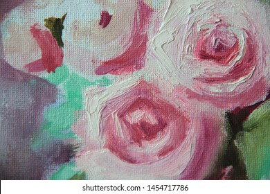 White and pink roses in a vase, oil painting on canvas, artwork. Close-up.