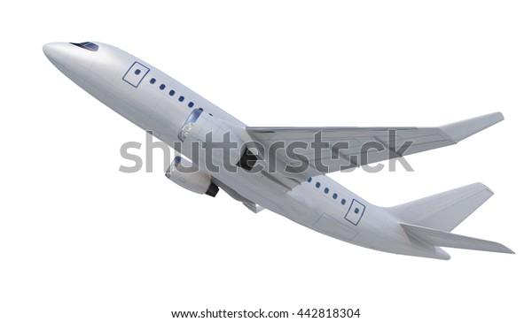 White Plane White Airplane Isolated On Stock Illustration 442818304