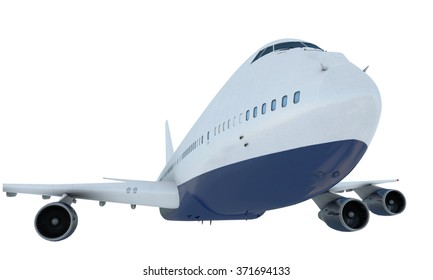 White plane flying. jumbo jet passenger  boeing 747 isolate on white background