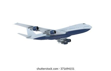 White plane flying. jumbo jet passenger  boeing 747 isolate on white background