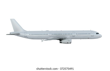 White plane flying. passenger airplane airbus a321 isolate on white background.
