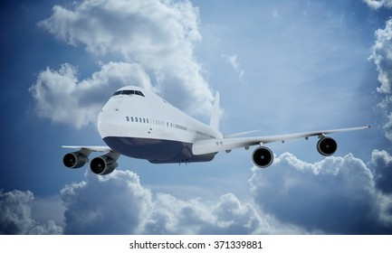 White plane flying in sky and clouds. Airplane boeing 747
