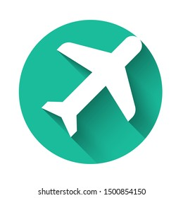 White Plane icon isolated with long shadow. Flying airplane icon. Airliner sign. Green circle button