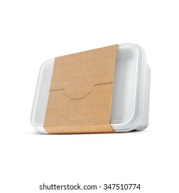 White plastic blank bank for food with eco paper cover. Template for design. Isolated on white