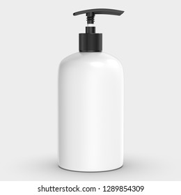 White Plastic Bottle with Pump, 3D illustration with clipping path