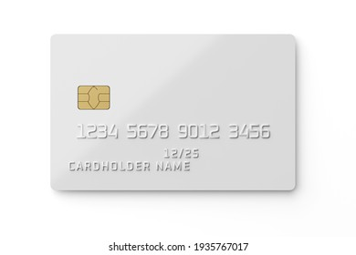White plastic card with chip isolated on white background. Payment or credit card. 3D rendering template mockup.