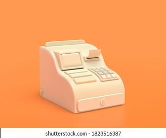white plastic cash register machine, cashier,  in yellow orange background, flat colors, single color, 3d rendering, selling, market