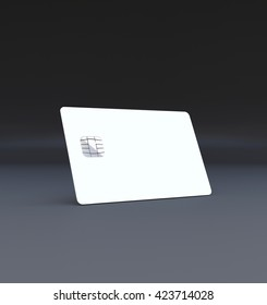 White plastic credit card, Mockup, dark,black background,3D rendering