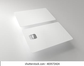White plastic credit cards, Mockup, grey background