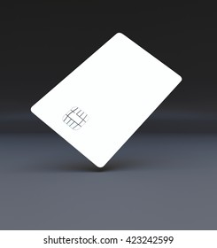 White plastic credit cards, Mockup, dark,black background, 3d render