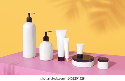 White plastic package in row on bright millenial pink table with orange backdrop. Sunny still life beauty branding set with fern shadows. Mock up for sun protection products. 3d render of cosmetic.