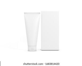 白い背景に白いプラスチックチューブと箱のパッケージ、モックアップ、3Dレンダリング