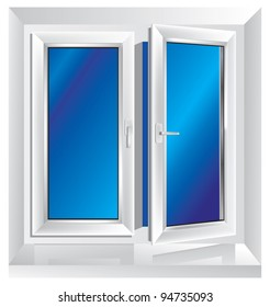 white plastic window ajar with blue color in the background