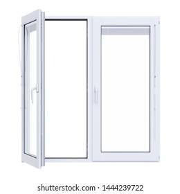 White plastic window isolated on white background opened. 3d rendering illustration