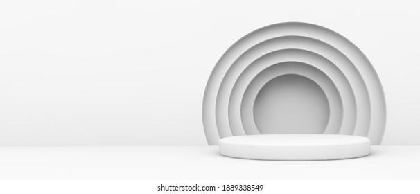 Weiße Plattform mit kreisförmigem Hintergrund 3D-Rendering