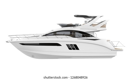 White Pleasure Yacht Isolated. 3D rendering