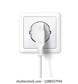 White plug is plugged into the power lines. 3D illustration isolated on white background. Plug inserted in a wall socket. Icon of device for connecting electrical appliances, equipment