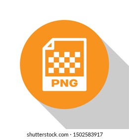 White PNG file document icon. Download png button icon isolated on white background. PNG file symbol. Orange circle button