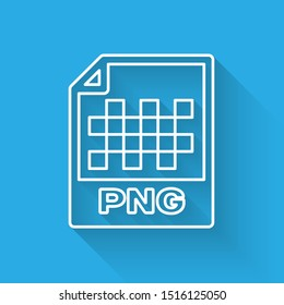 White PNG file document icon. Download png button line icon isolated with long shadow. PNG file symbol