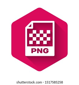White PNG file document icon. Download png button icon isolated with long shadow. PNG file symbol. Pink hexagon button