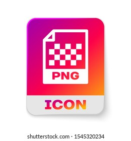 White PNG file document icon. Download png button icon isolated on white background. PNG file symbol. Rectangle color button