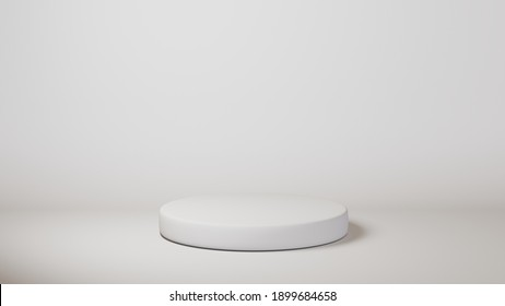 White podium cylinder template on white background. 3d base stand empty stage or studio pedestal round platform showroom. Can paste coffee package, milk bottle, box or any object.