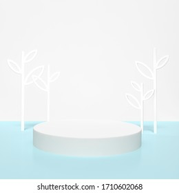 White podium stage backdrop with tree on white and blue background for product display stand or used in other designs 3d rendering. 3d illustration template minimal style summer holiday concept.