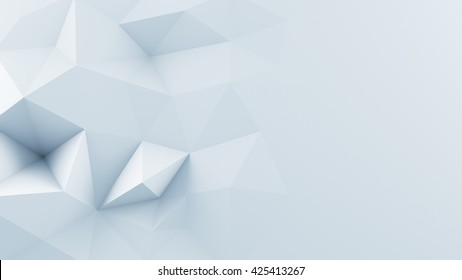 White polygonal shape. Computer generated abstract 3D render background