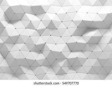 White polygonal triangle geometric 3d texture