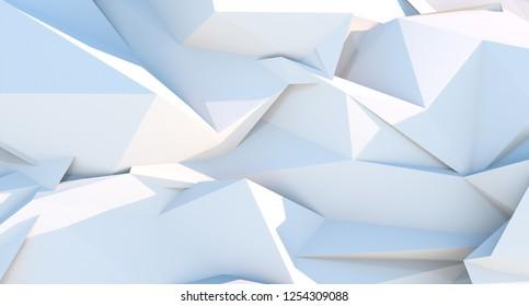 White polygonal triangle geometric background. 3D illustration