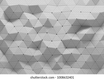 White polygonal triangle geometric texture. 3D rendering backgro