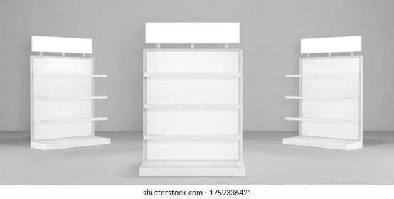 White POS POI Floor Display Rack For Supermarket Blank Empty Displays With Shelves Products On White Background Isolated. Ready For Your Design. Product Packing