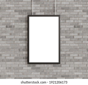 White poster with black frame mockup on on brick wall. 3d rendering.