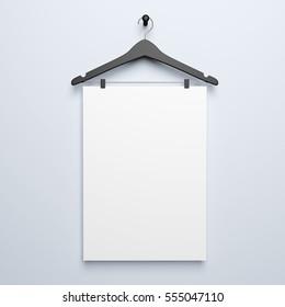 White poster blank mockup 3d rendering